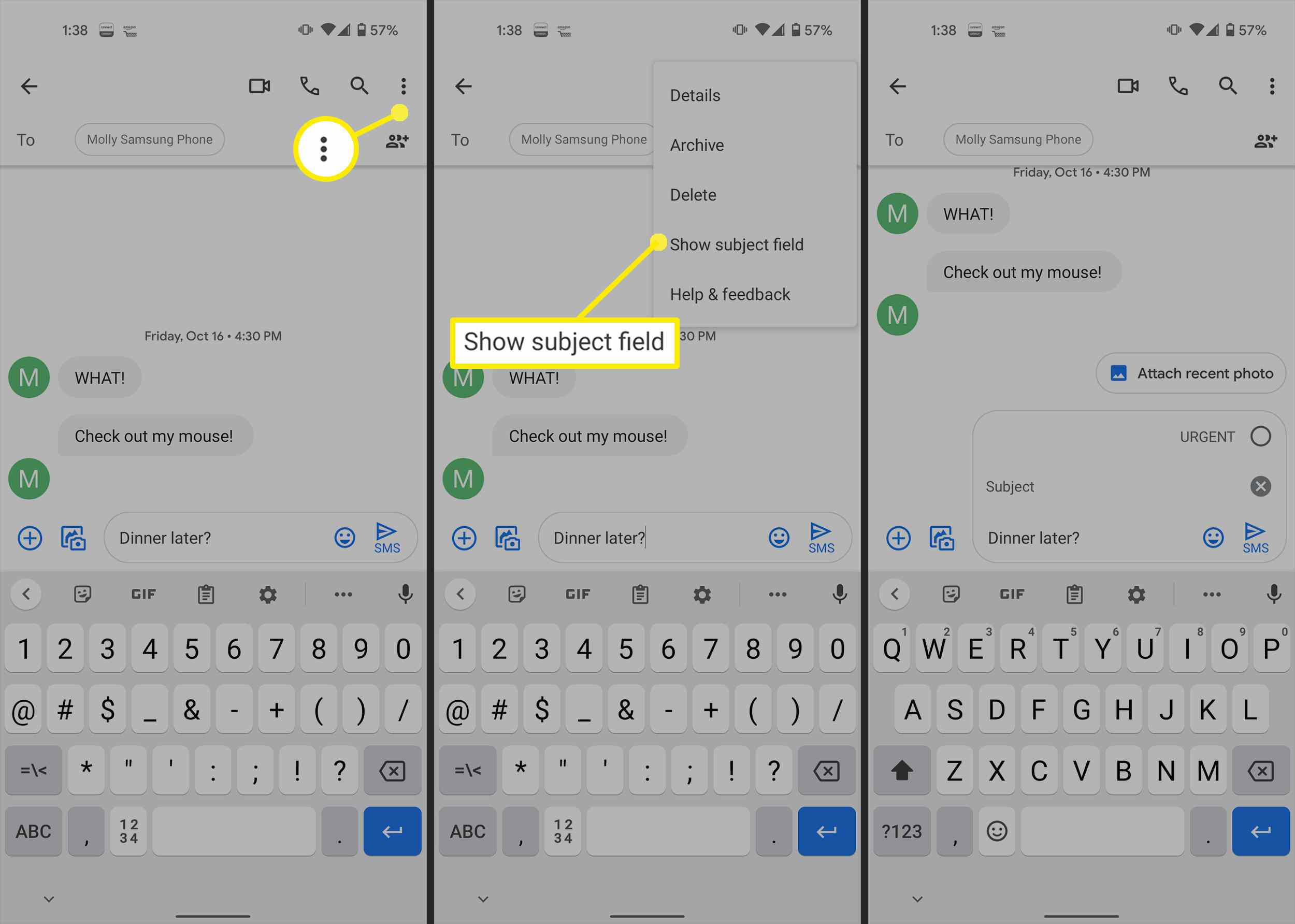 Adding a subject field to an Android text.