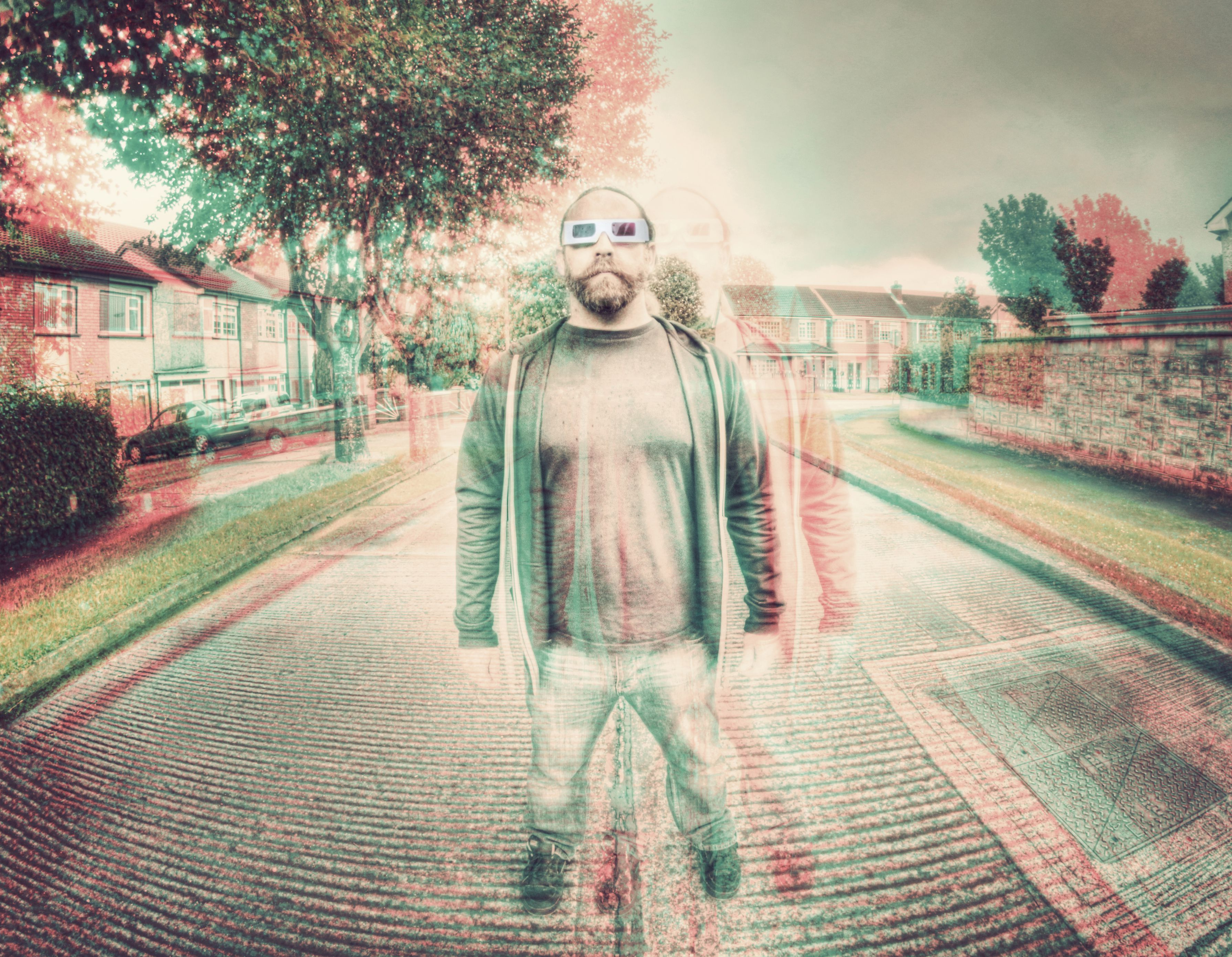 3d image of a standing man wearing 3D glasses
