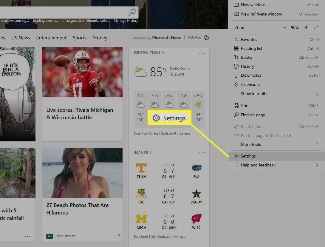 Microsoft Edge Settings in menu