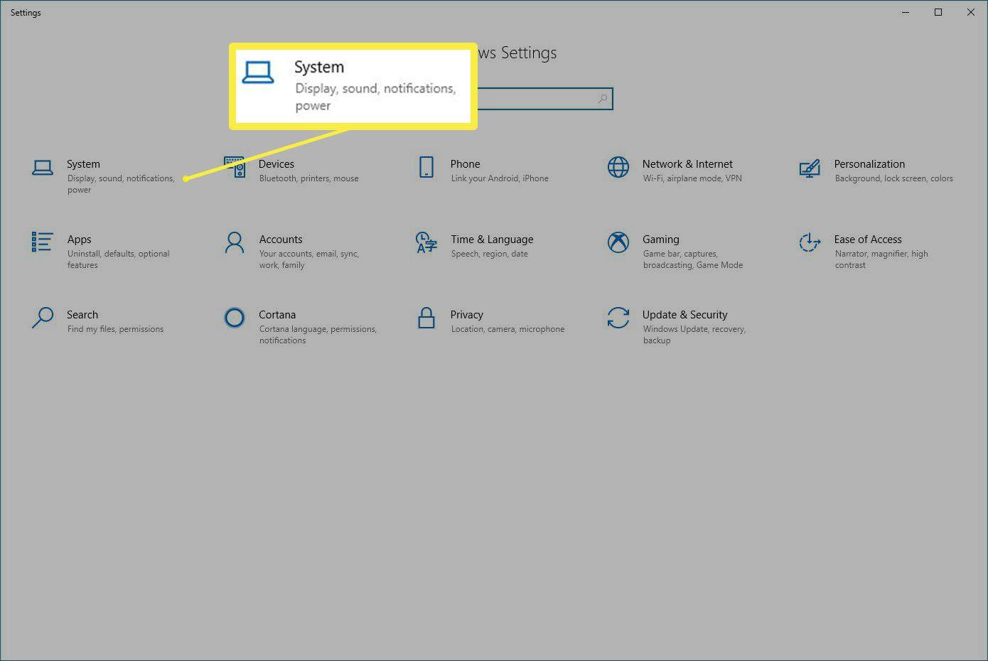 The Windows Settings dialog box.