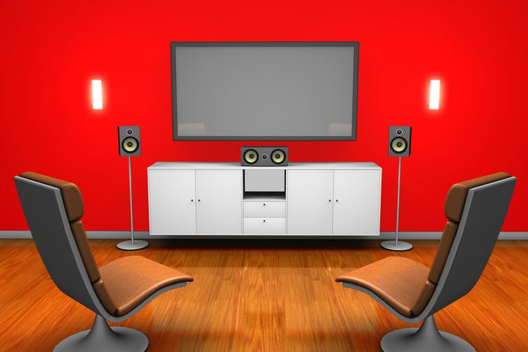 Illustration of room with surround sound
