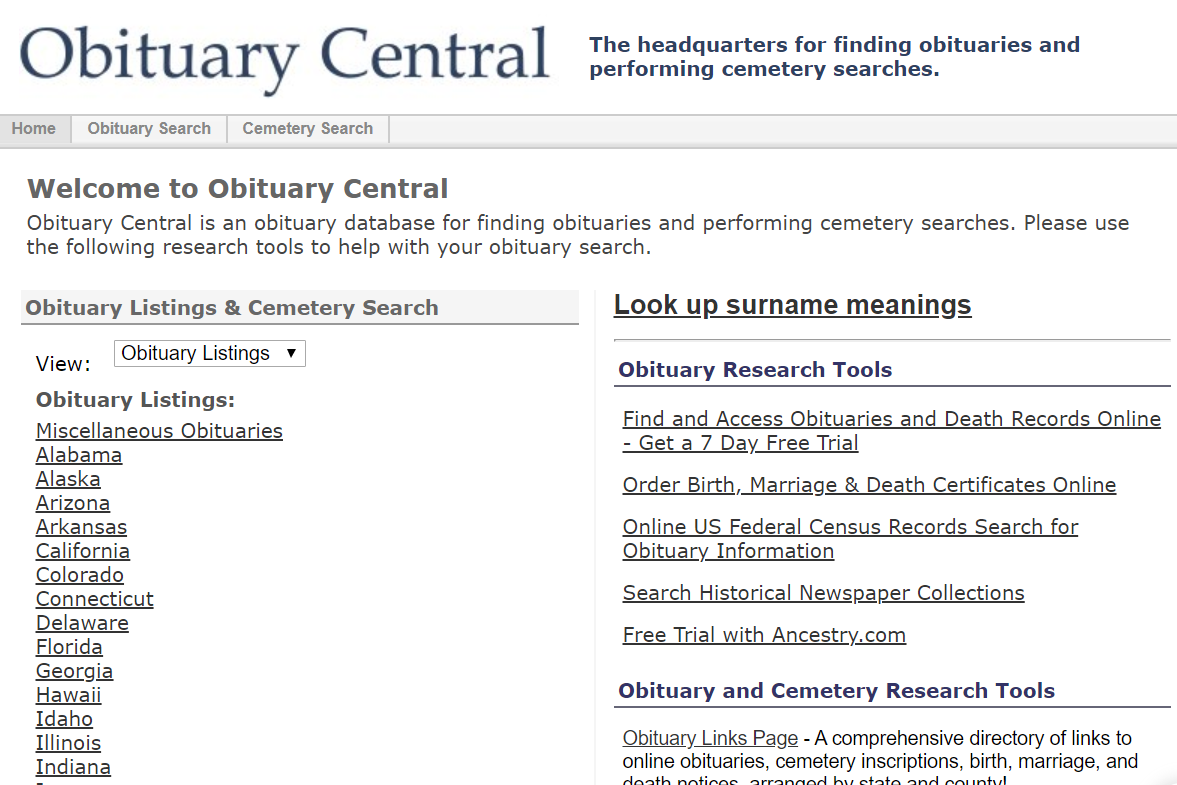 Obituary Central home page