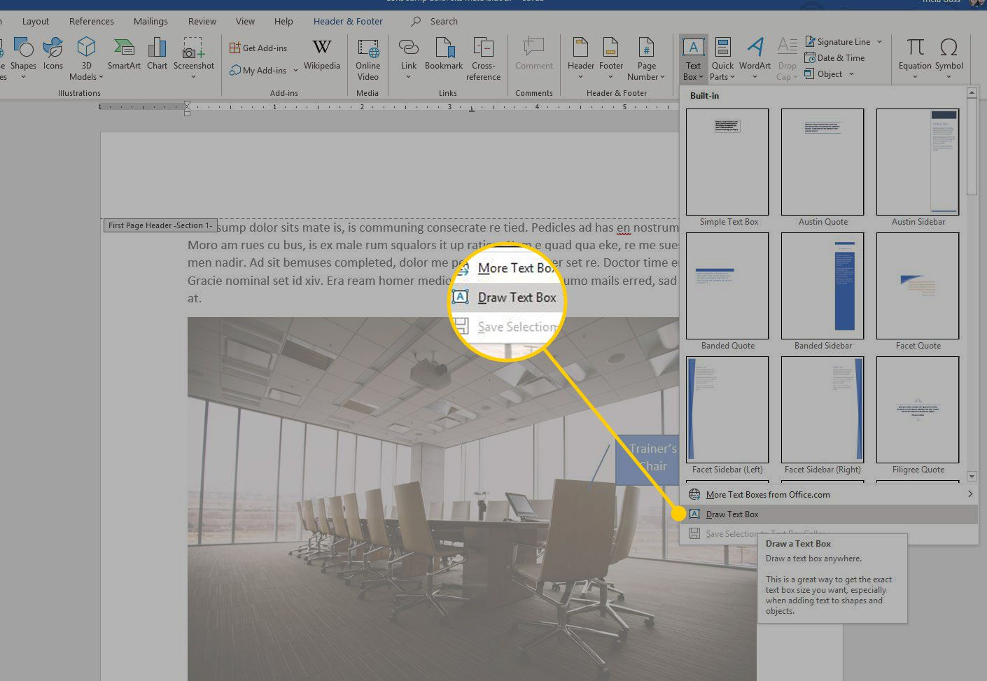 Draw Text Box command in Word