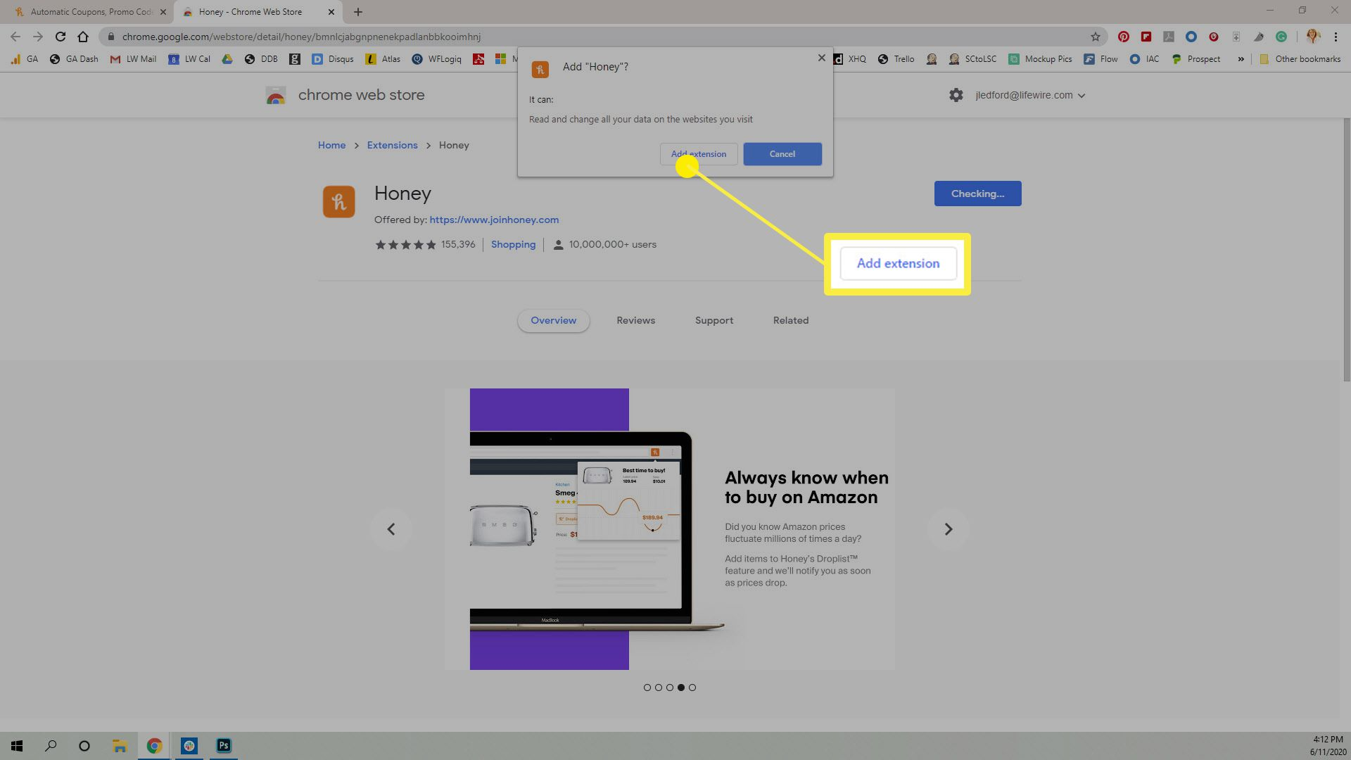 How to add the Honey App to Chrome browser.