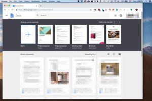 Screenshot of Google Docs web page on macOS