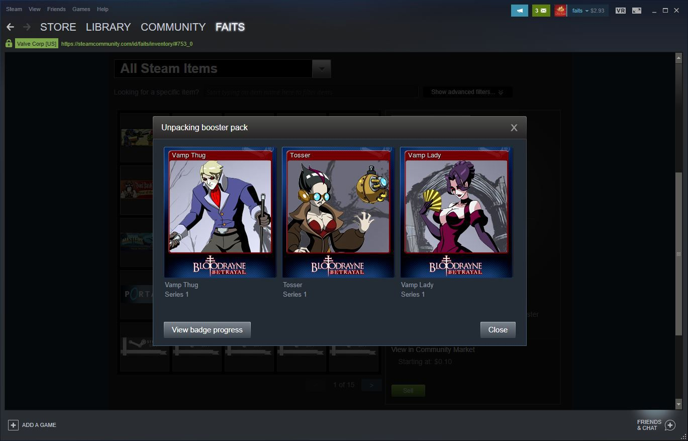 Steam inventory with an opened booster pack.