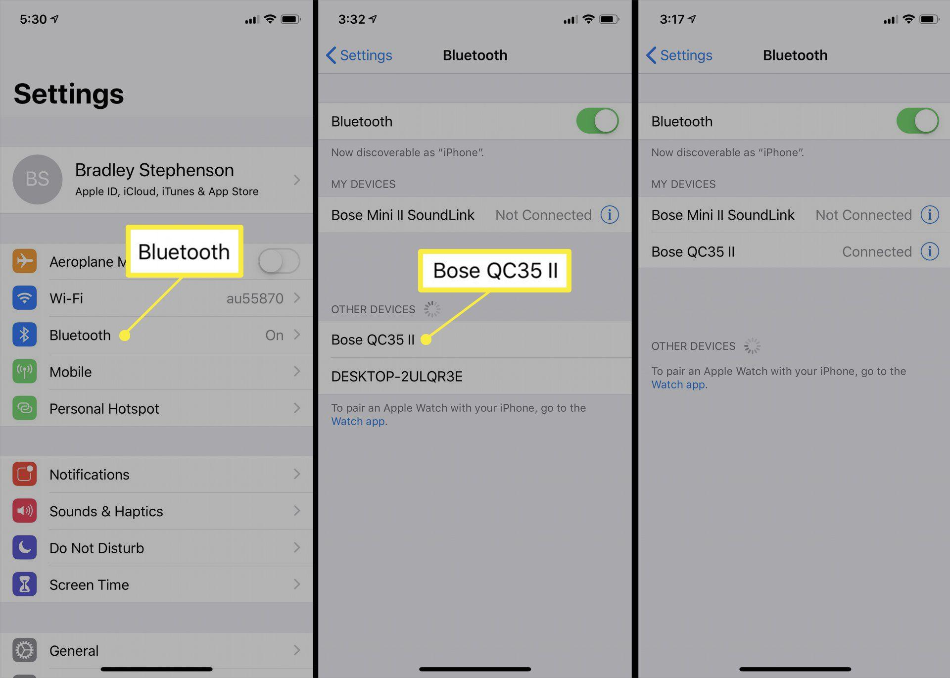 iOS Bluetooth settings.