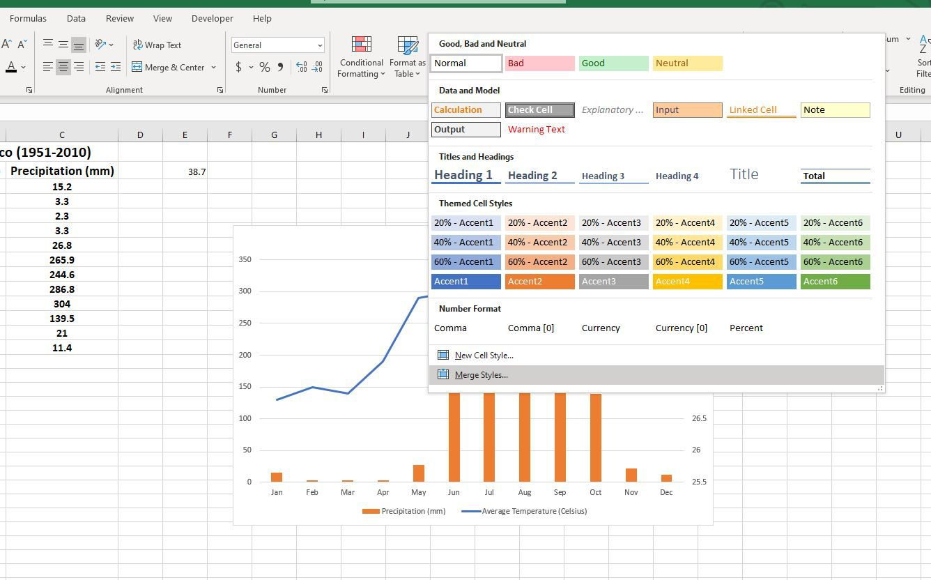 Merge Styles button in Excel Cell Styles