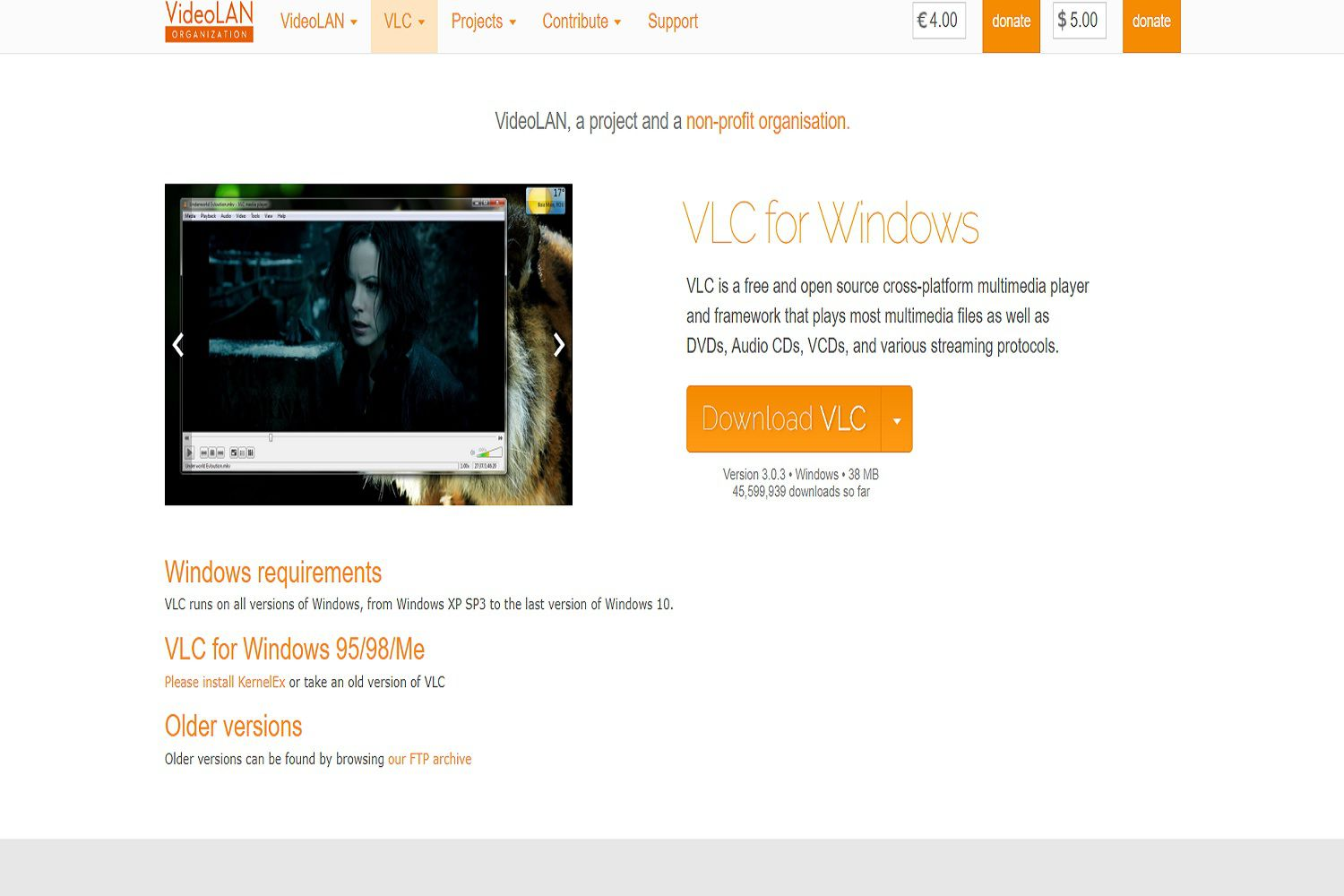 A screenshot of the VLC for Windows web page. This is where you can download the VLC DVD player for free.