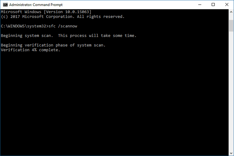 Screenshot of the sfc /scannow command executing in Windows 10