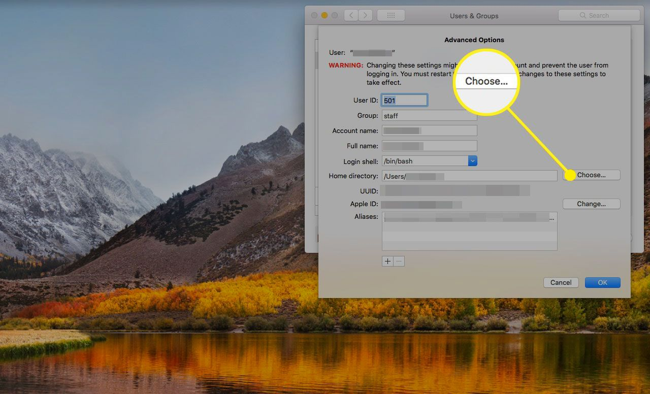 Advanced Options for Users & Groups on a Mac with the Choose button highlighted