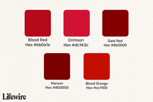 Blood Red color swatches with Hex numbers