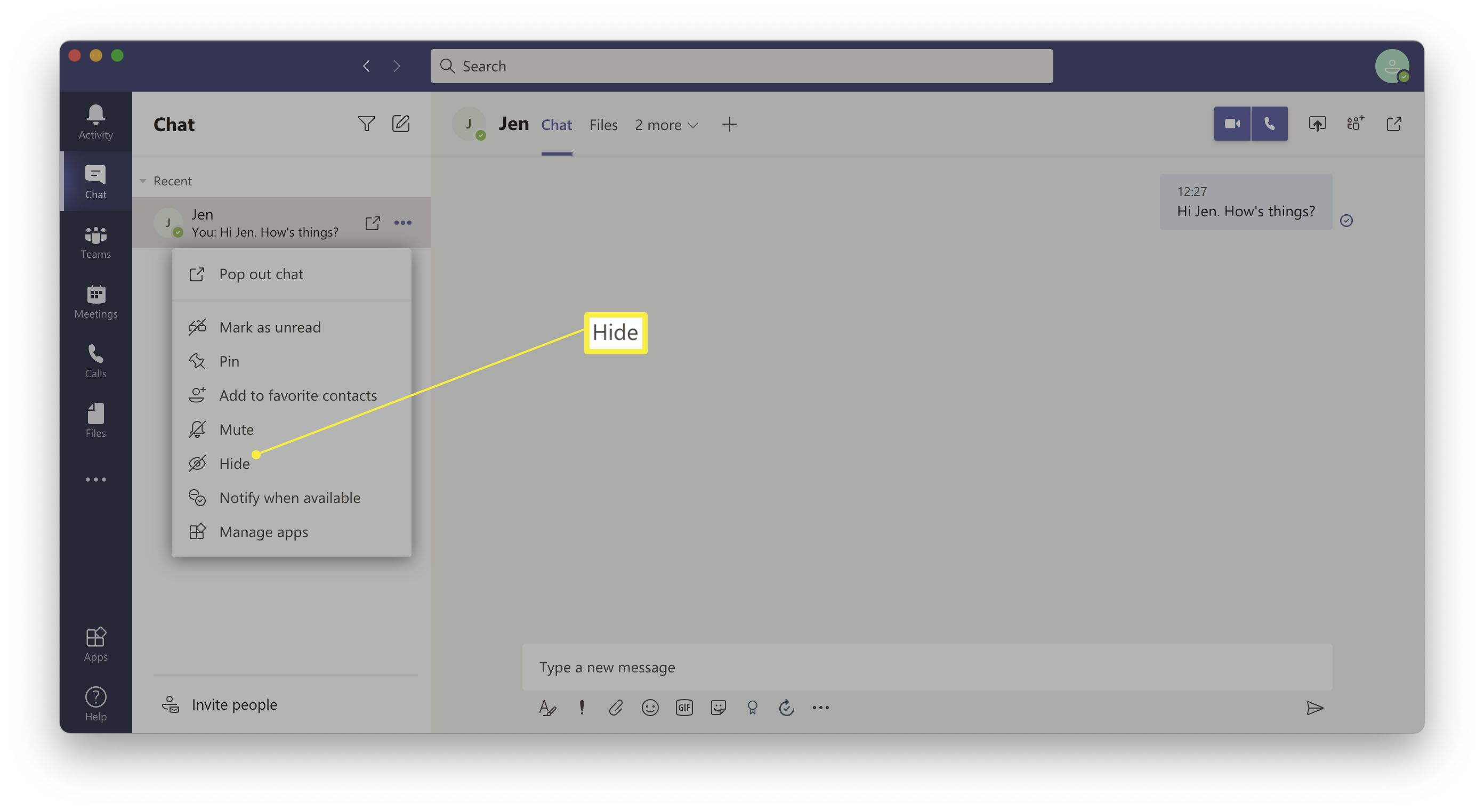 Right click options for a person's name in Chat on Microsoft Teams