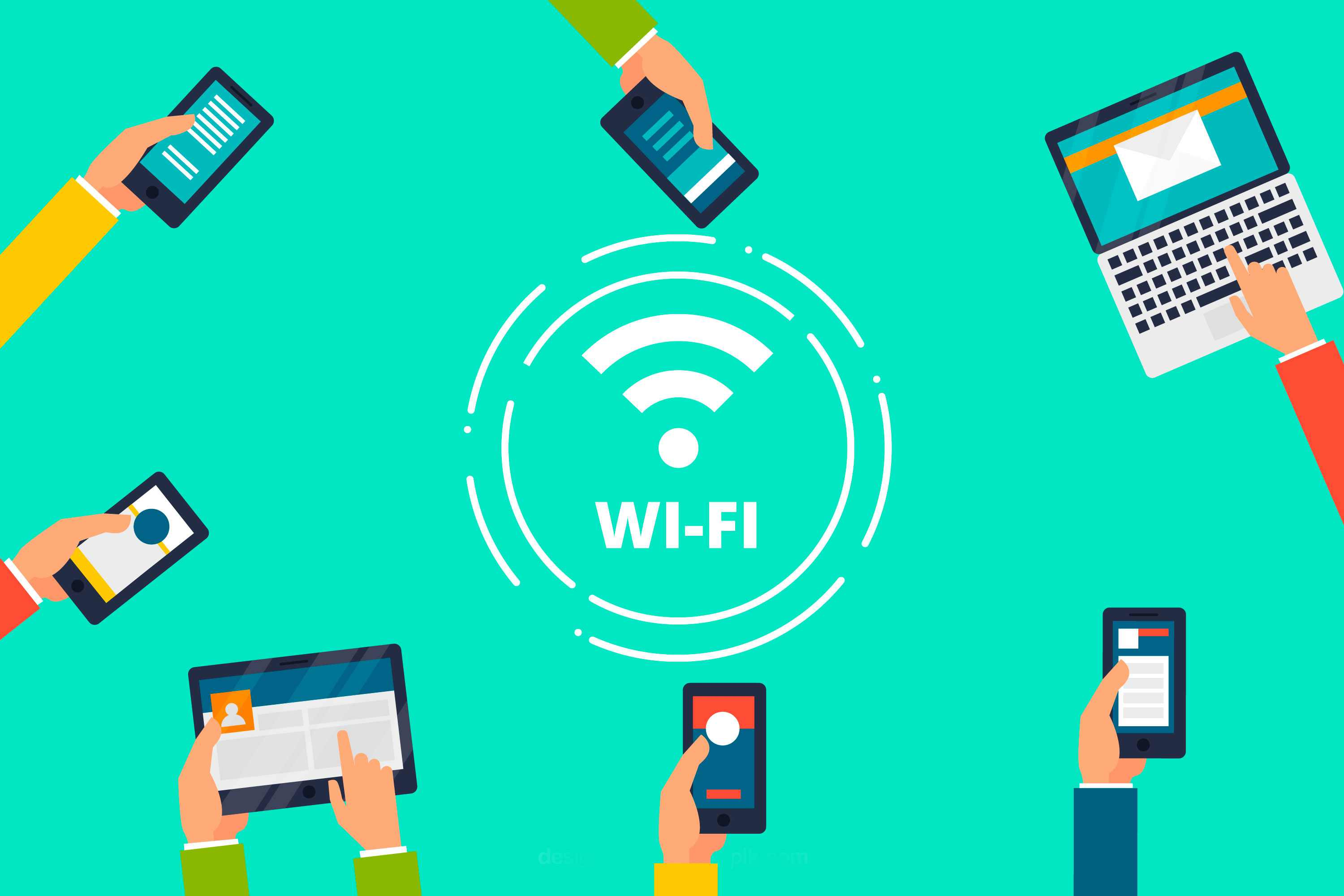 Illustration of people using wifi for free