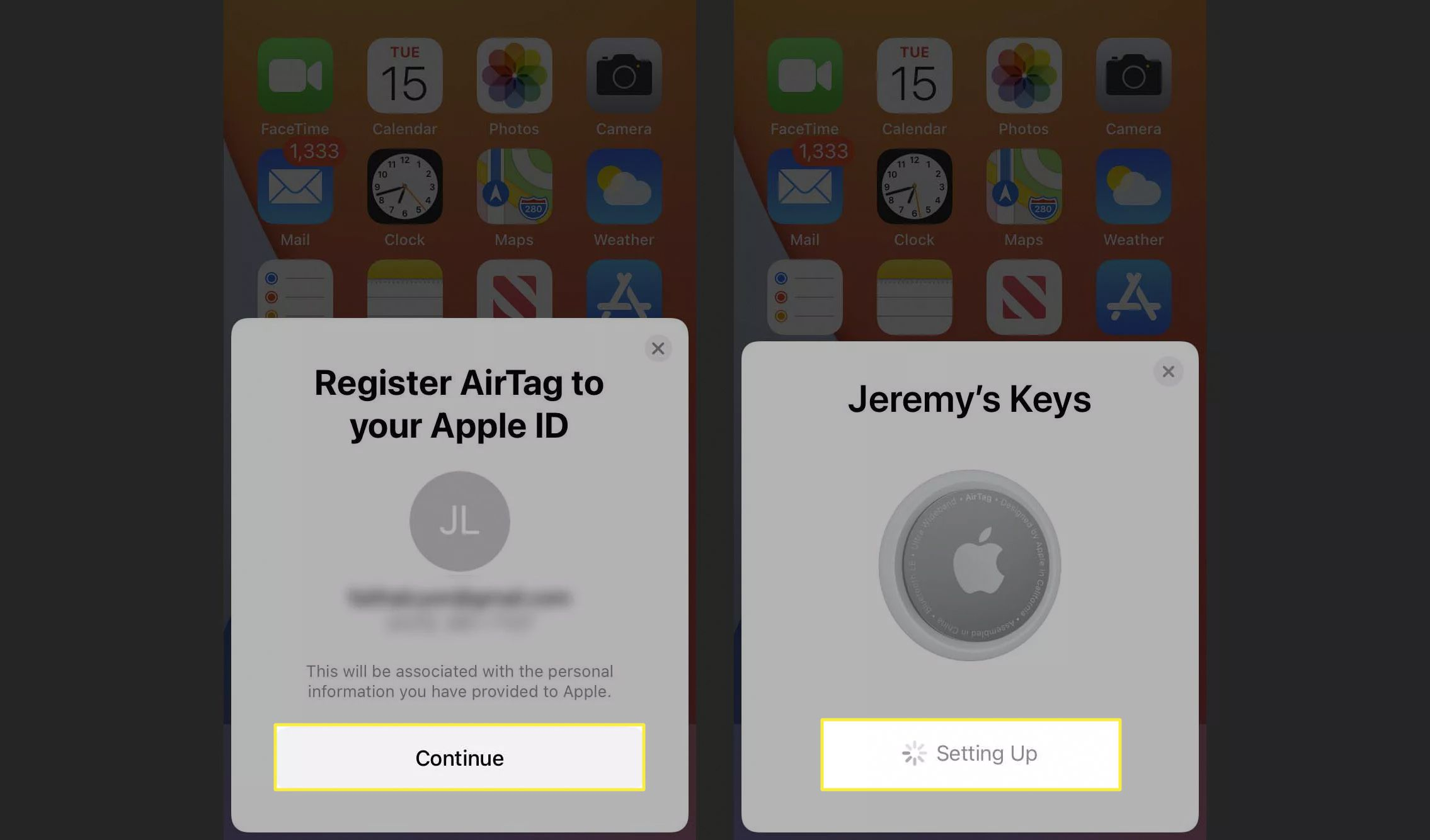 Final steps to set up AirTags on iPhone.