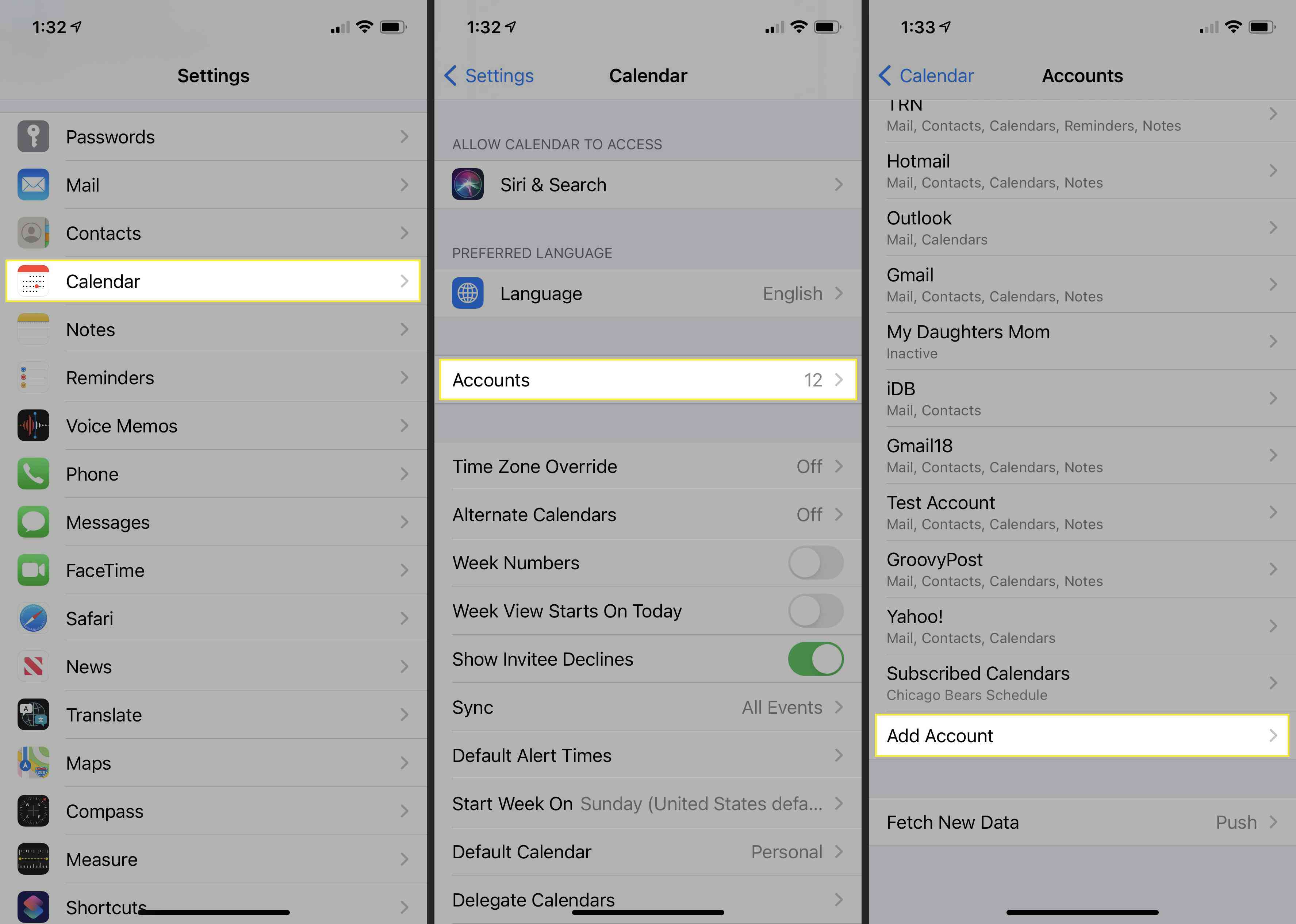 Adding a calendar account with the Settings app on an iPhone.