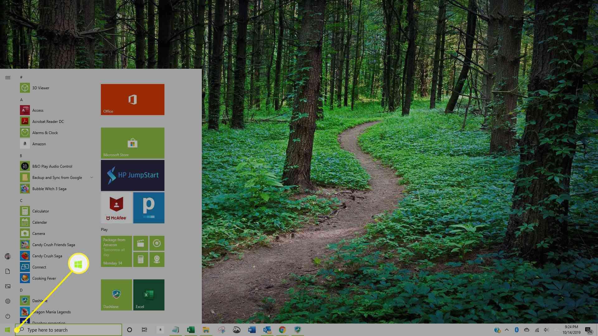 Screenshot of Windows 10 Start Menu