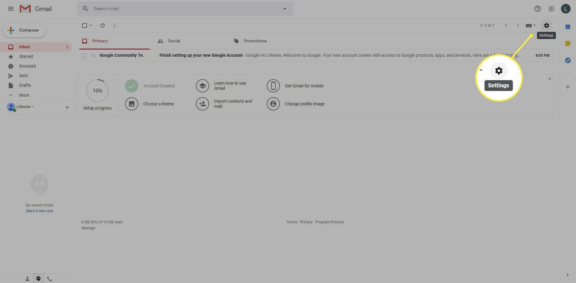 Gmail Settings gear