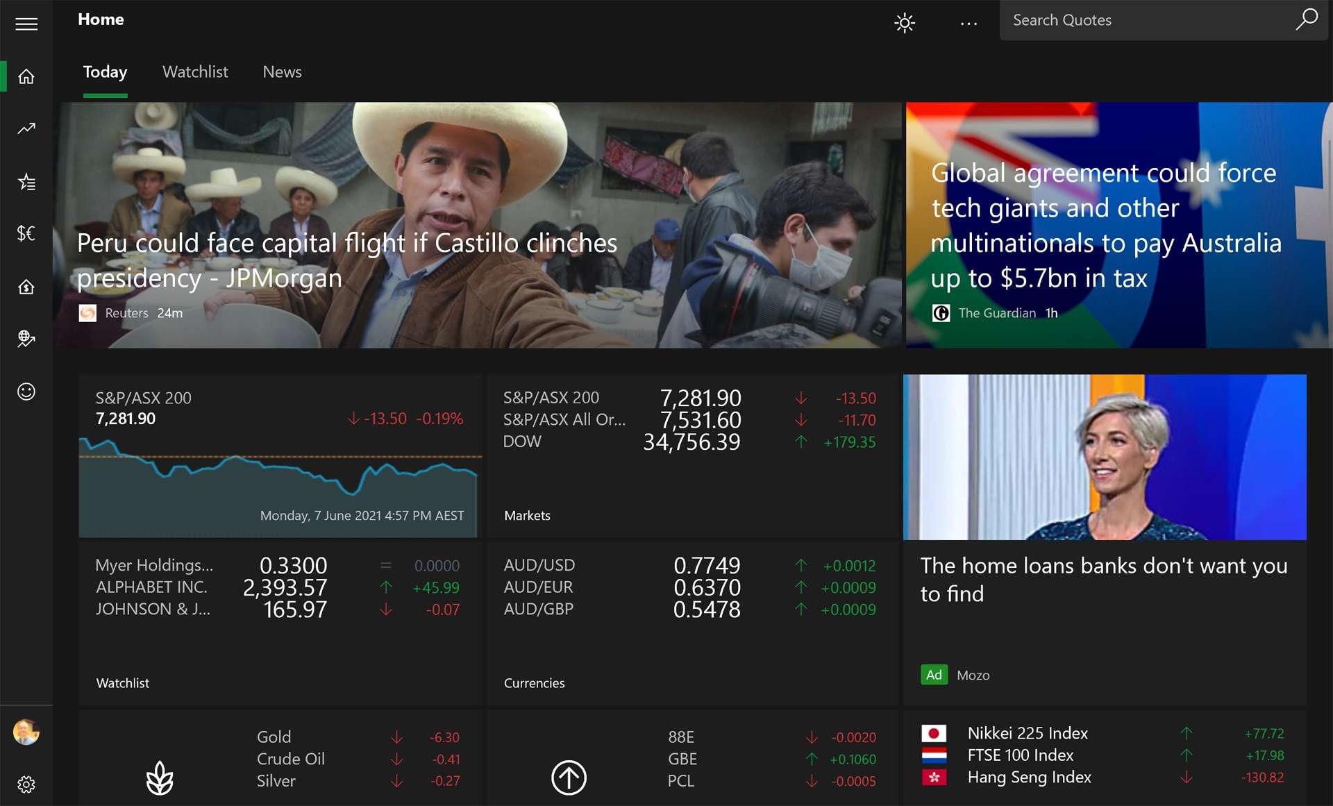 Windows 10 MSN Money app on Surface.