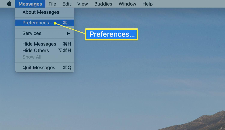 Mac desktop showing Messages Preferences link