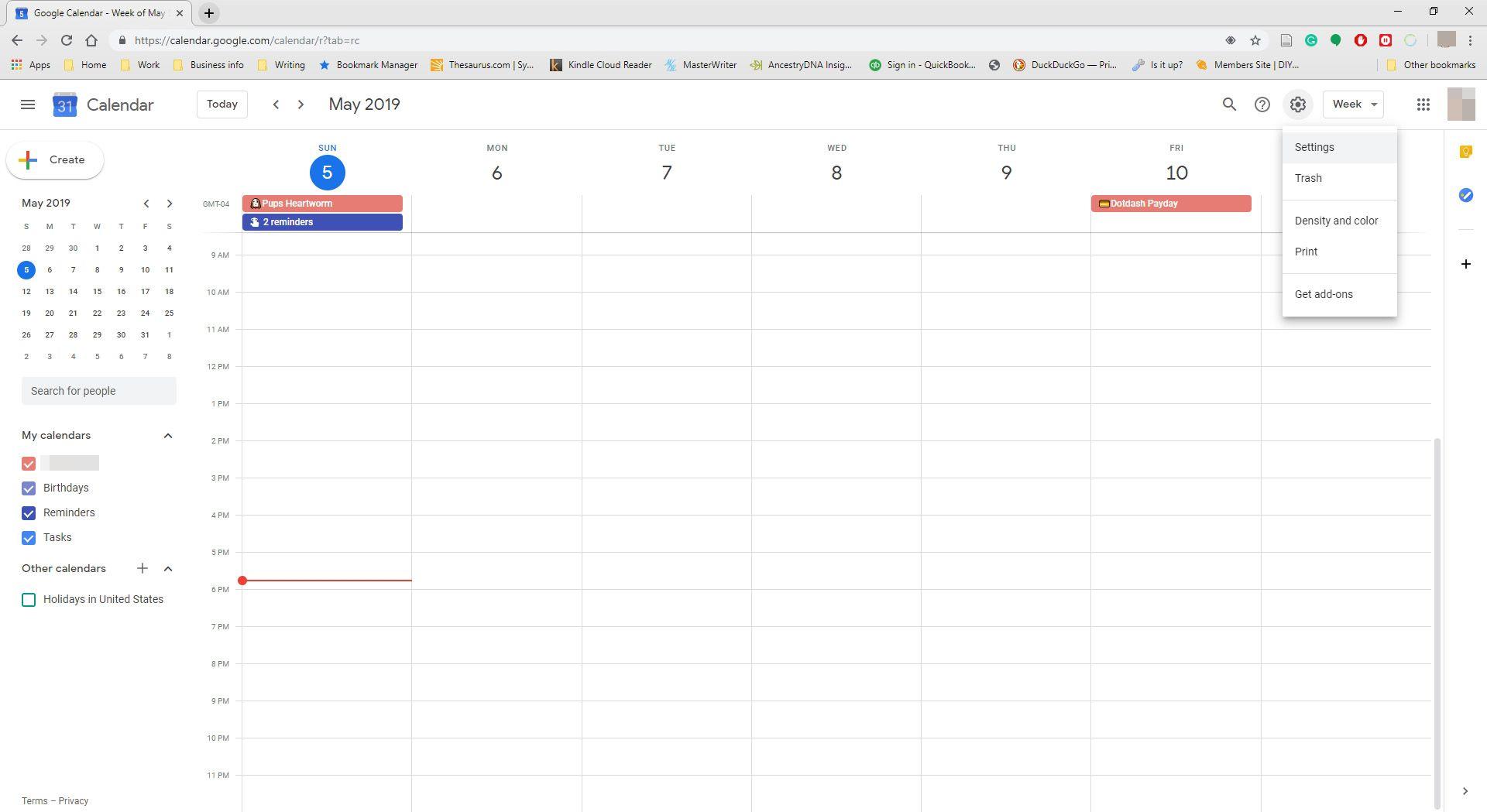 Screenshot of Settings in Google Calendar