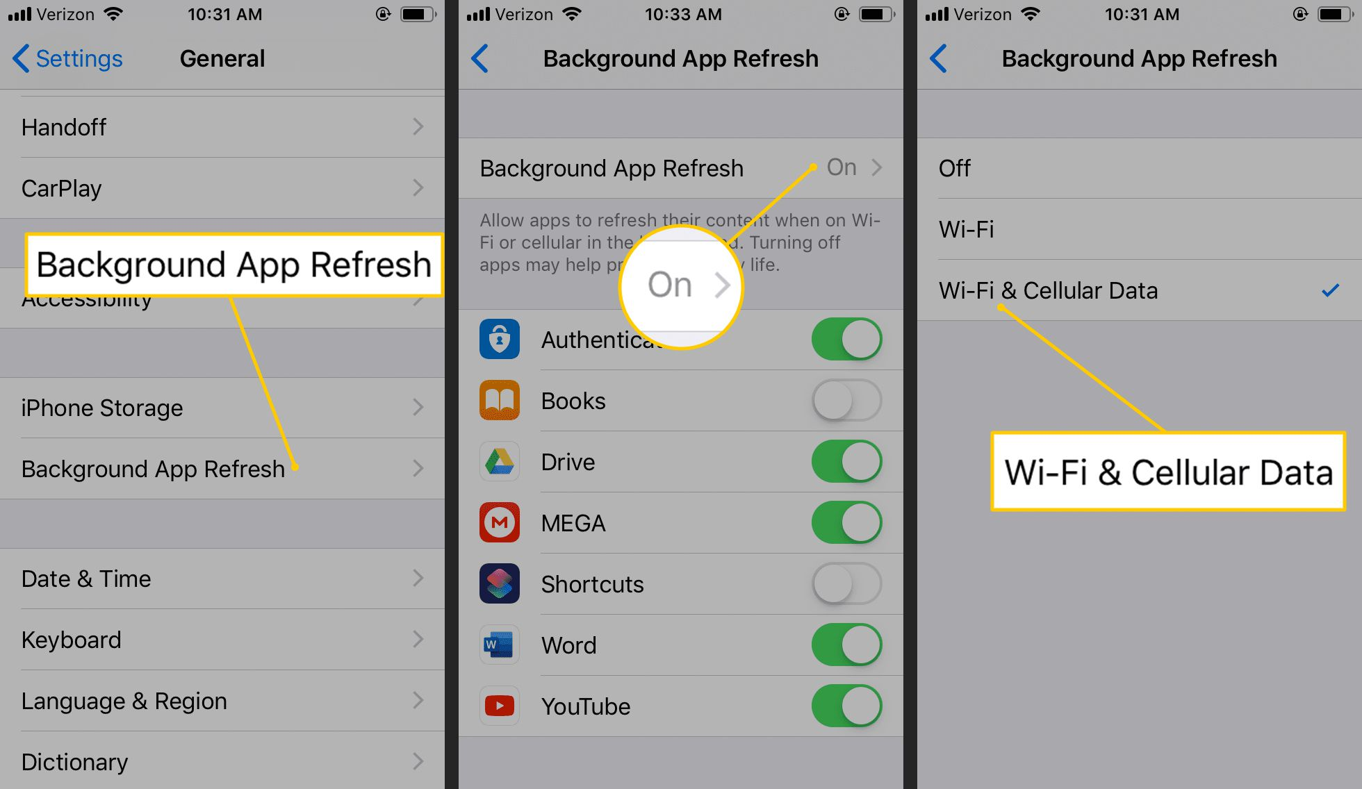 Background App Refresh, On button, Wi-Fi & Cellular Data in iOS settings