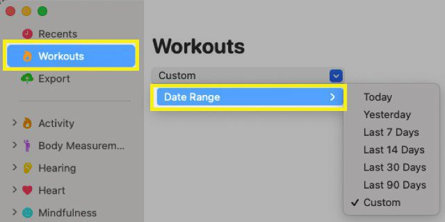 Health Auto Export application with Workouts and Date Range highlighted