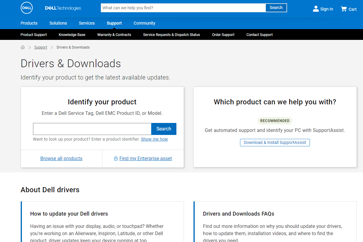 Dell drivers and downloads page