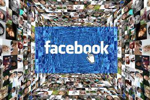 Hundreds of portraits encircling the Facebook logo.