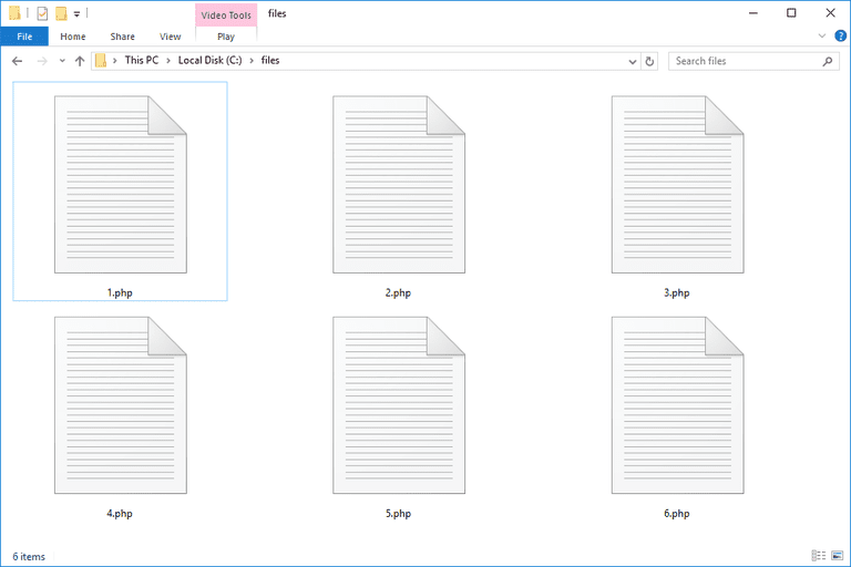 Screenshot of several PHP files in Windows 10