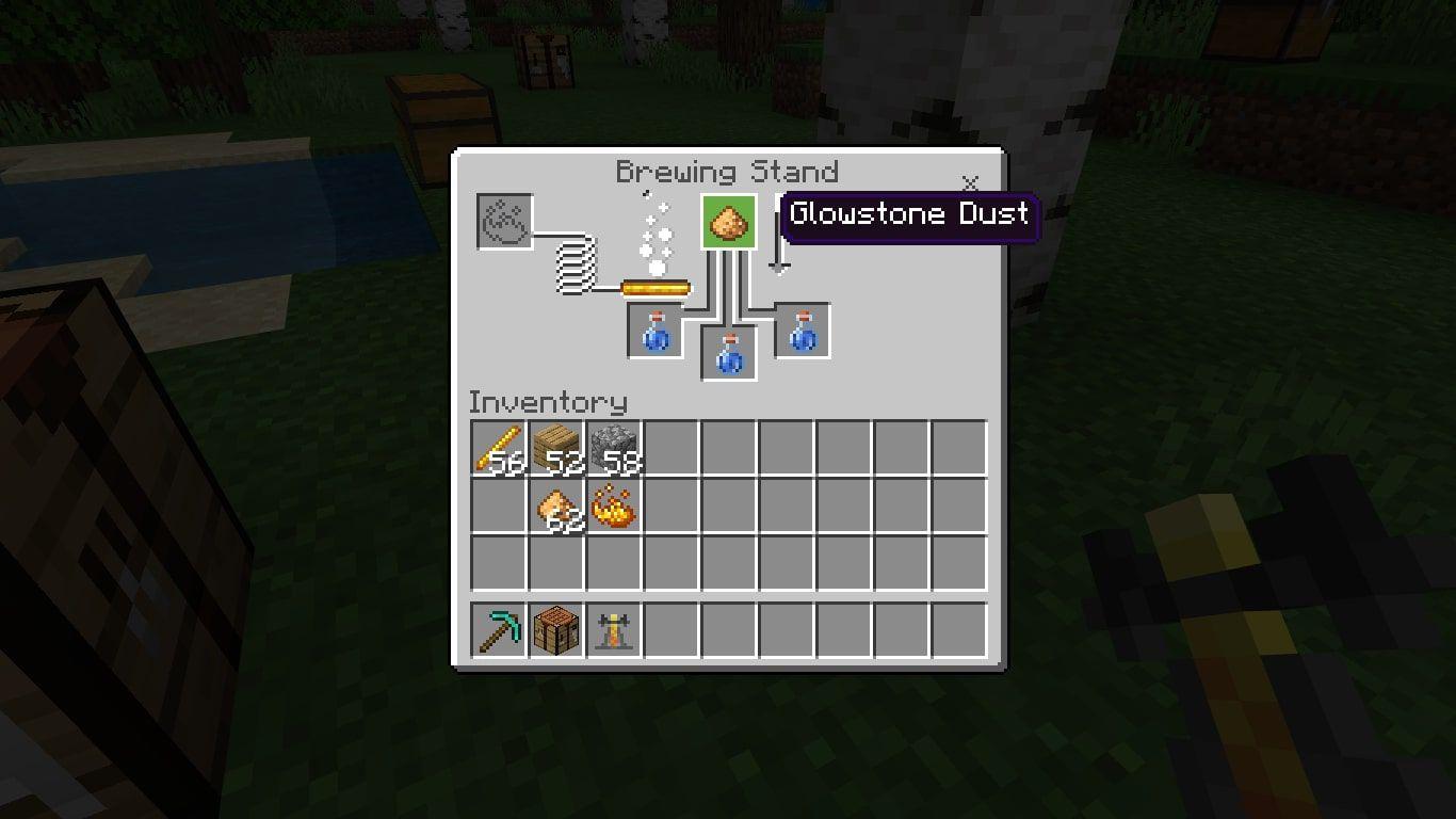 Glowstone Dust in the Minecraft brewing menu