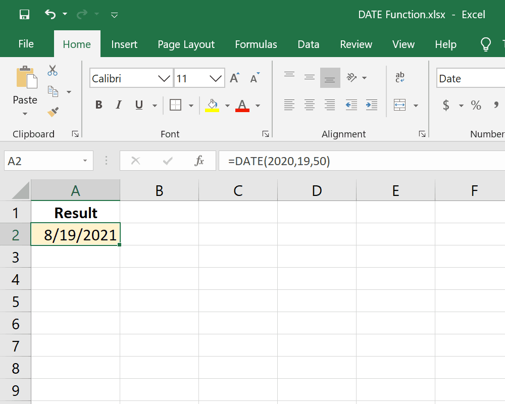 Example of the DATE function in Excel
