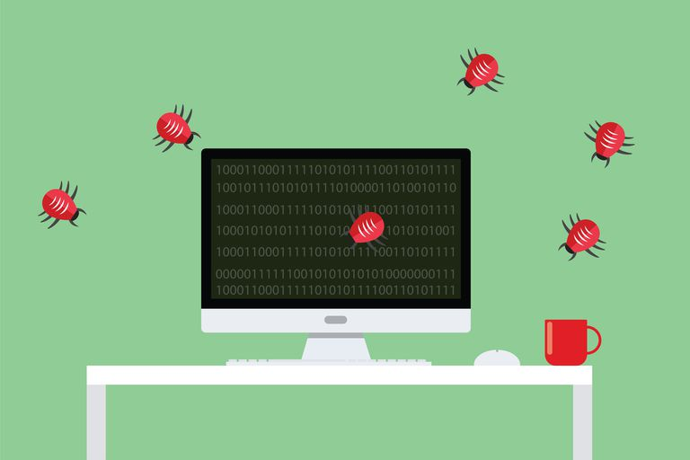 Bugs crawling across computer screen to represent malware