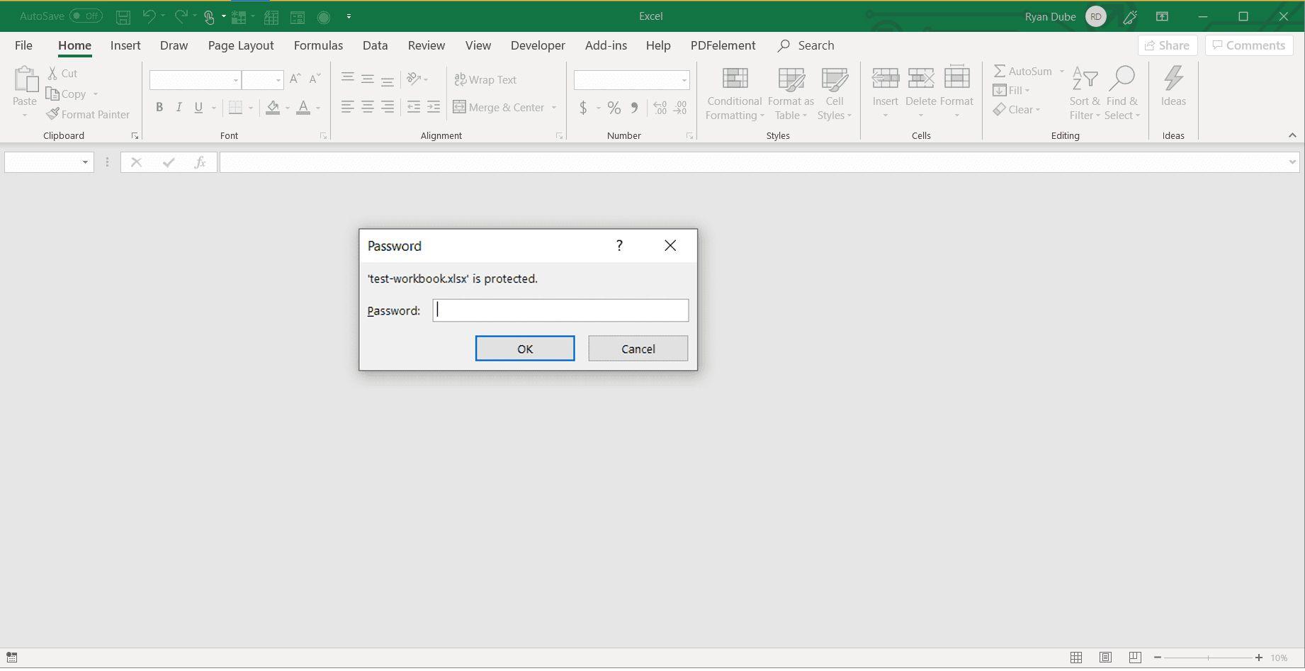 Excel workbook password prompt