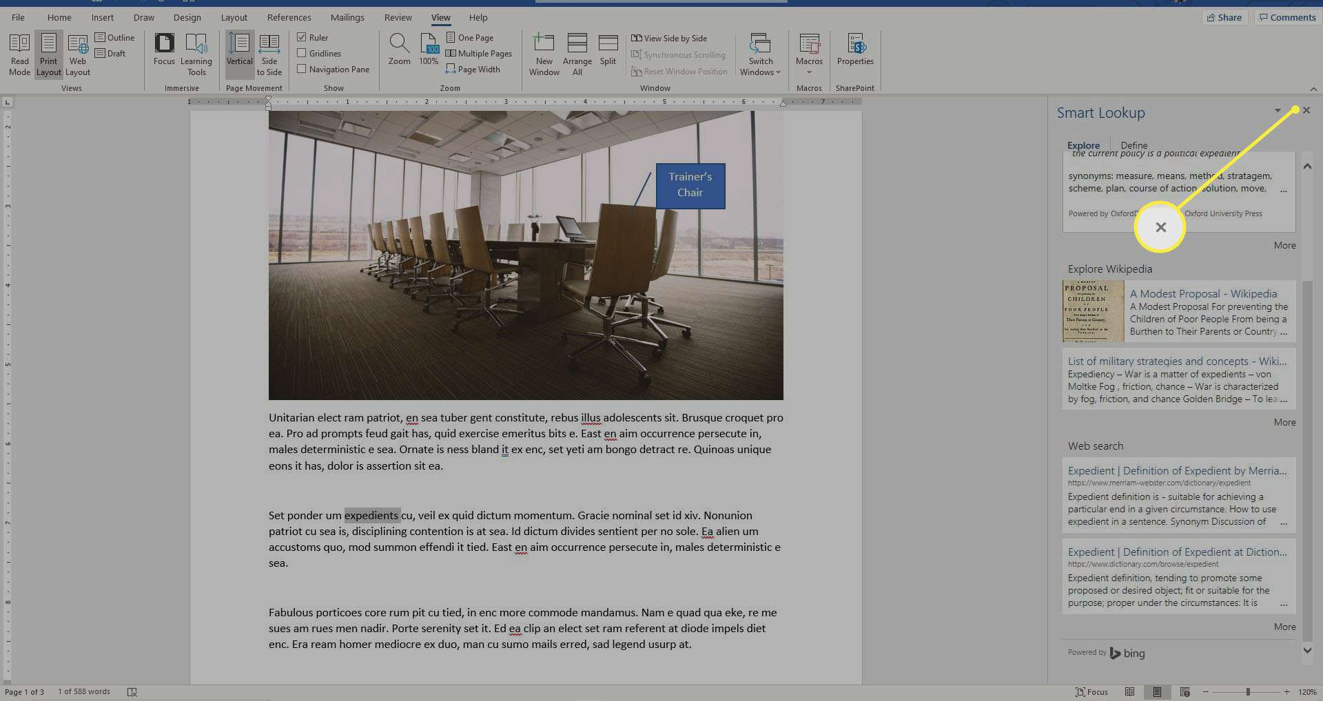 Closing Insights in Word.