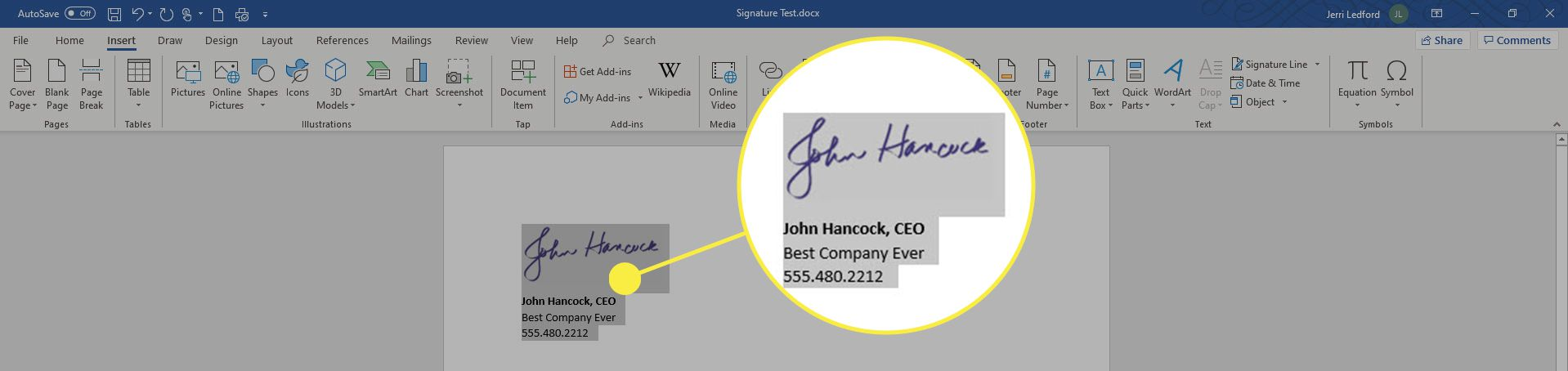 How to insert a signature into microsoft word