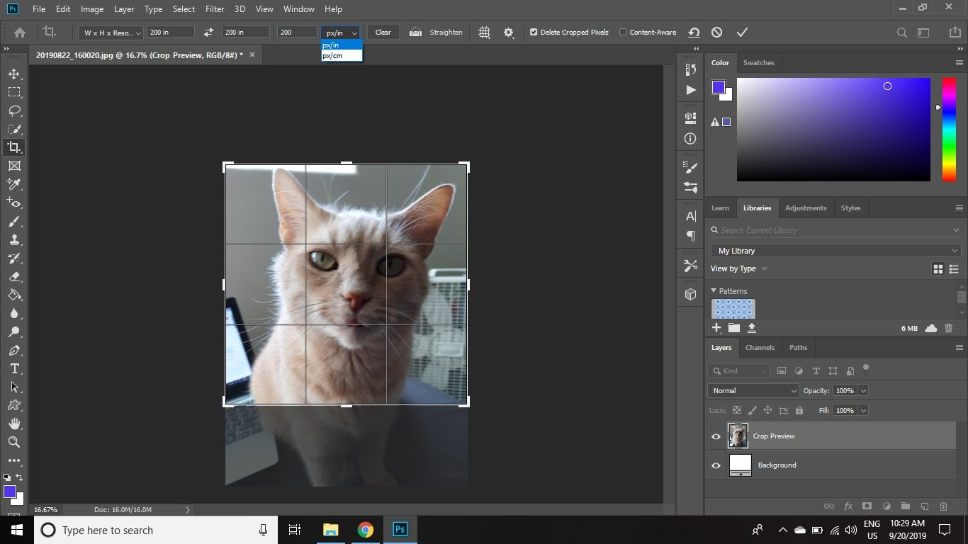 Select the drop-down box to choose between pixel per inch or pixels per centimeter for the resolution, and select Clear to clear all fields.