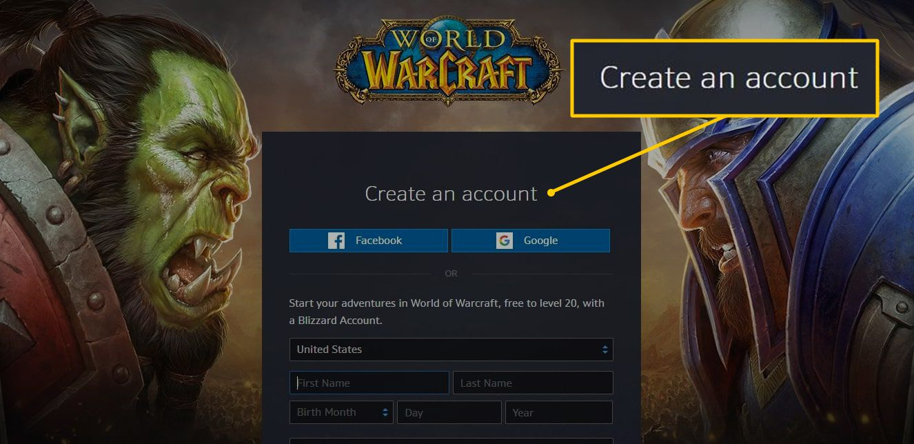 Create an account for World of WarCraft