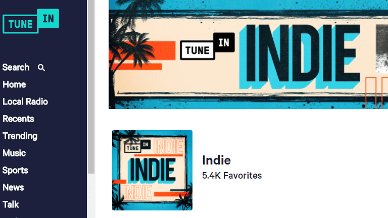 Listening to a station at TuneIn