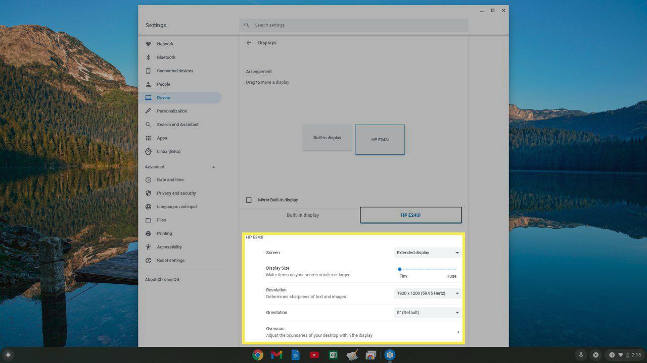 Image of Chromebook screen settings.