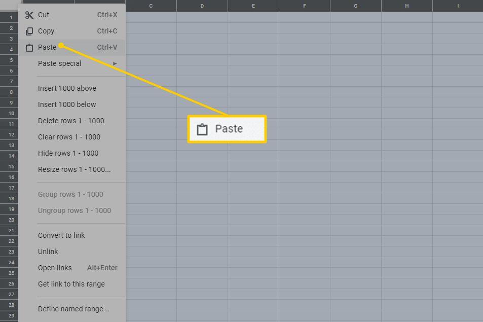 Paste menu command in Google Drive