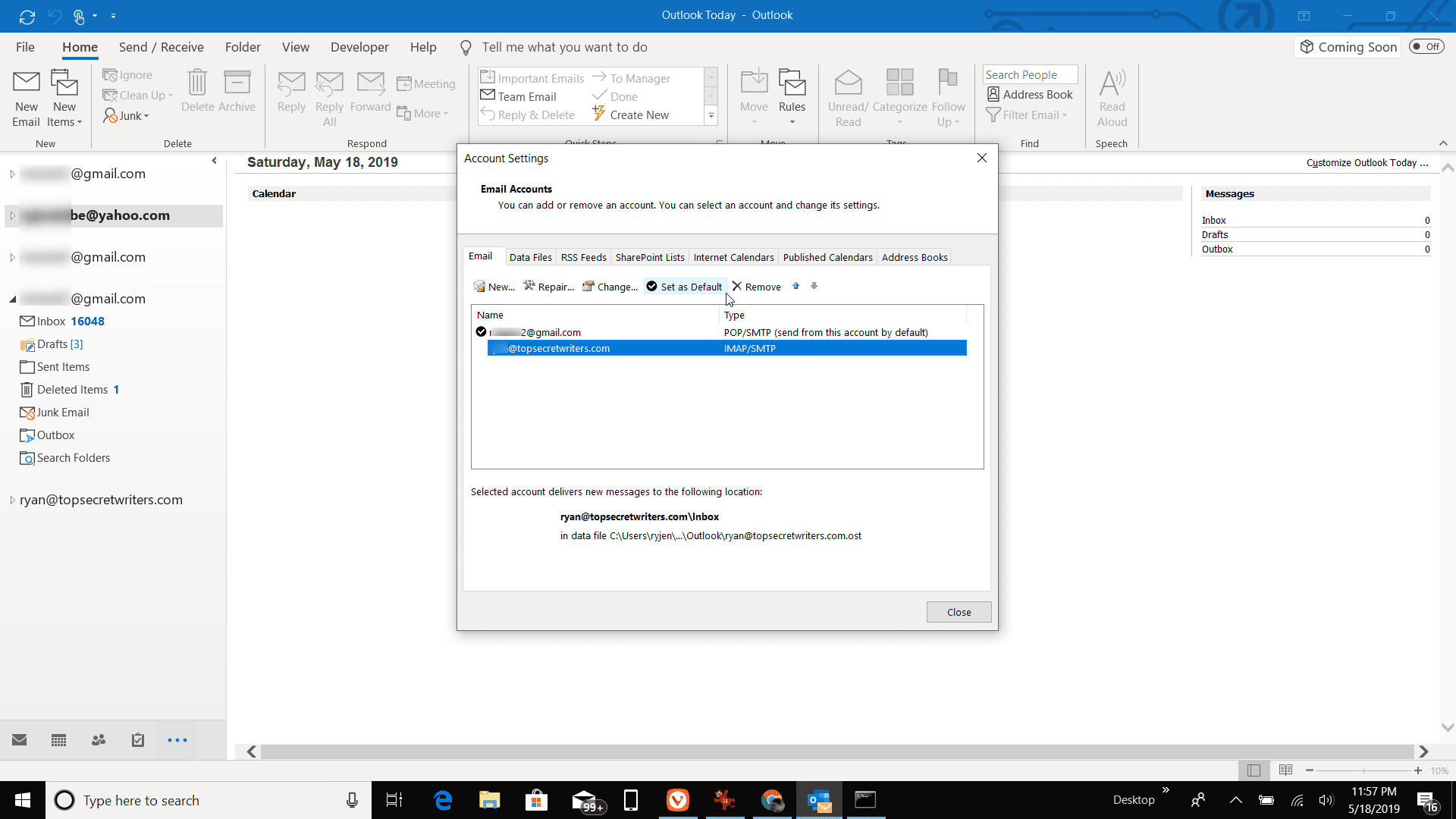 How to Choose Account Used to Send a Message in Outlook