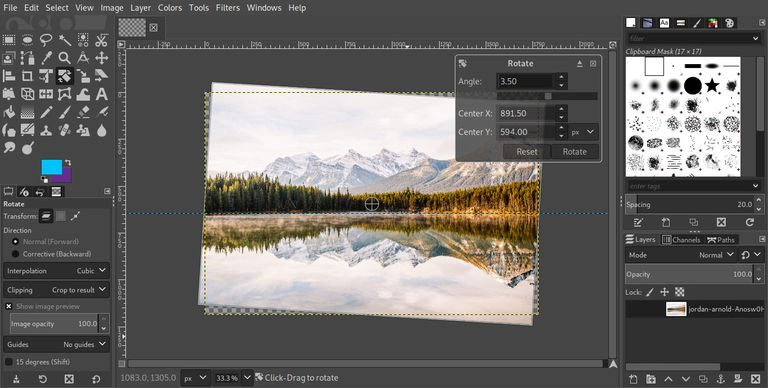GIMP straighten image with rotate tool
