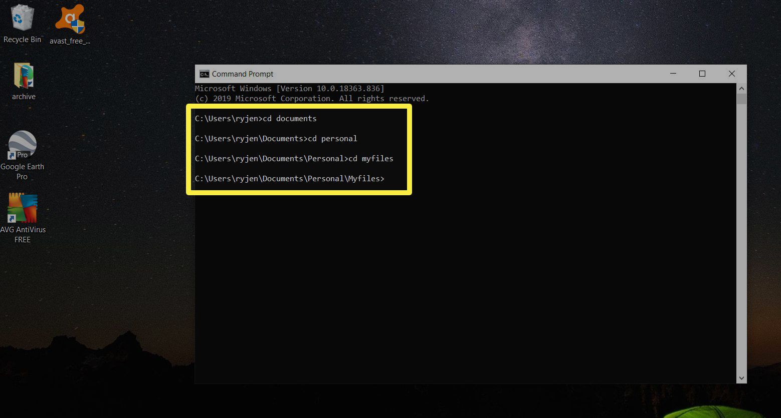 Screenshot of navigating to folder in command prompt