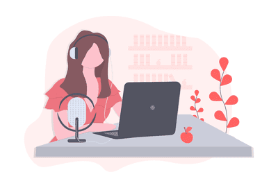Woman with laptop and mic on desk