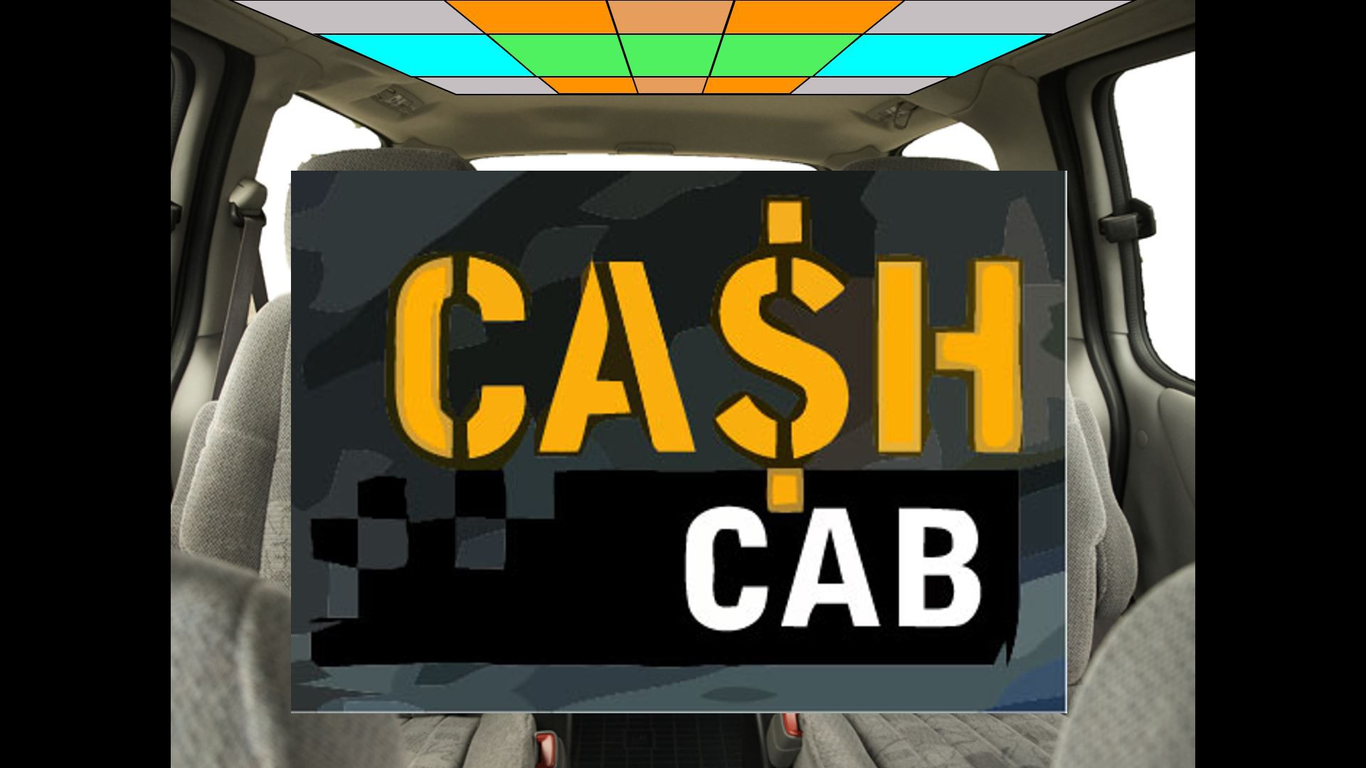 Cash Cab PowerPoint template opening screen.