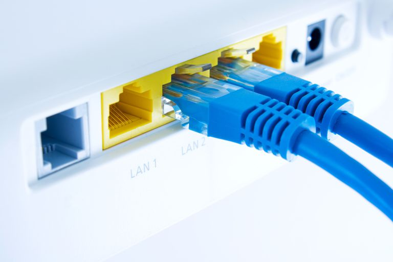 An image showing the router plugs on the back of a router