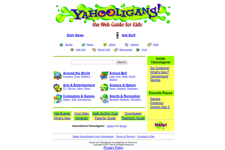 Yahooligans website home page