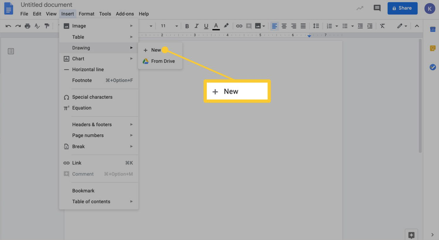 Insert menu with Drawing and New options