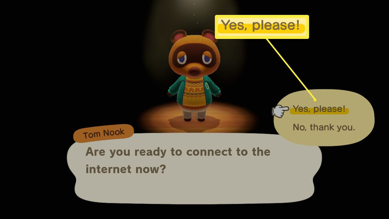 Animal Crossing: New Horizons NookLink setup with Connect to Internet highlighted